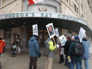 Boycott israeli Settlement goods!  Demonstration in Winnipeg